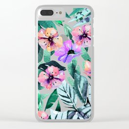 Tropical violet pink mauve green watercolor floral Clear iPhone Case