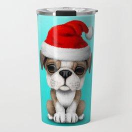 Christmas Bulldog Puppy Wearing a Santa Hat Travel Mug