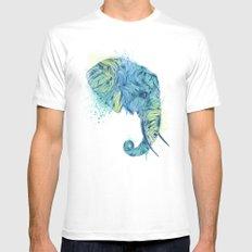 Elephant Head II MEDIUM White Mens Fitted Tee