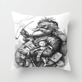 Vintage Illustration Of Santa Claus  Throw Pillow