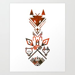 Tribal Sign Animals Wolf Bear Fox Art Print