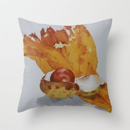 Autumn leaf and conker Throw Pillow