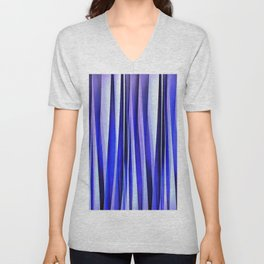 Peace and Harmony Blue Striped Abstract Pattern Unisex V-Neck