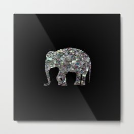 Sparkly colourful silver mosaic Elephant Metal Print