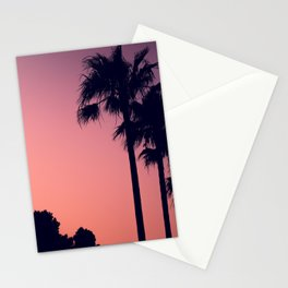 Mediterranean Palm Trees at Pink Sunset Stationery Cards