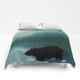 Stepping Into The Moonlight - Black Bear and Moonlit Lake Comforters