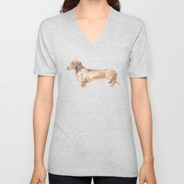 A long dog: Dachshund doxie puppy dog watercolor pet portrait Unisex V-Neck