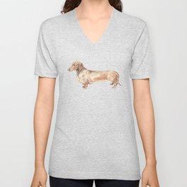 A long dog: Dachshund doxie puppy dog watercolor pet portrait Unisex V-Neck