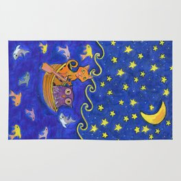 Owl and Pussycat rowed at night Rug