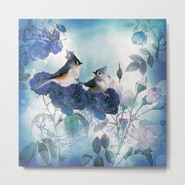 Cute birds with flowers Metal Print
