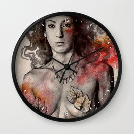 Colony Collapse Disorder (topless warrior woman with leaves on nude breasts) Wall Clock