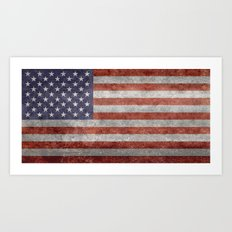 Flag of the United States of America in Retro Grunge Art Print