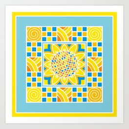 Sunflower. Ukrainian style. Art Print
