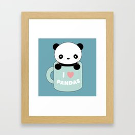 Kawaii I Love Pandas Framed Art Print
