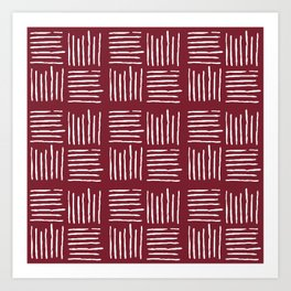 Textile lines on burgundy Art Print