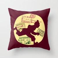 tintin Throw Pillows featuring Run Tintin, Run by ikado