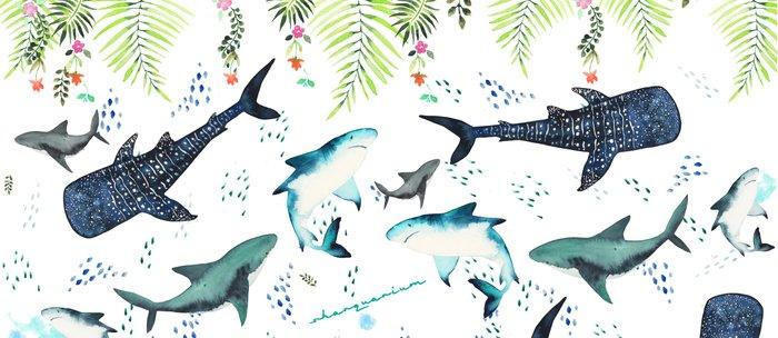 Floral Shark Pattern Coffee Mug By Sharquarium Society60 Inspiration Shark Pattern