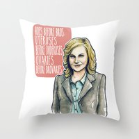 leslie knope Throw Pillows featuring Leslie Knope by Tiffany Willis