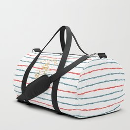 Maritime Design - Nautic Vintage Anchor on stripes in blue and red Duffle Bag