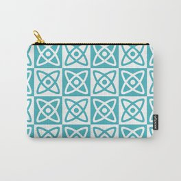 Mid Century Modern Atomic Check 140 Turquoise Carry-All Pouch