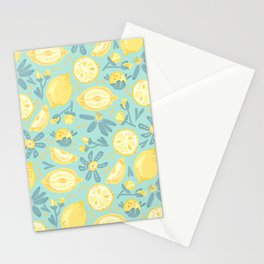Lemon Pattern Mint Stationery Cards