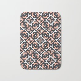 Nuts and Bolts // Spanish floor tile pattern in coral black and white Bath Mat