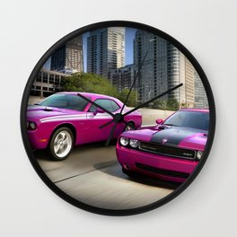 Limited Edition Fuchsia Panther Pink Challenger RT Classic Variation Models Wall Clock