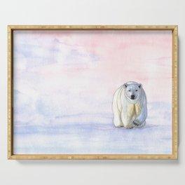Polar bear in the icy dawn Serving Tray
