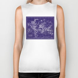 World Map (1899) Blue & White  Biker Tank