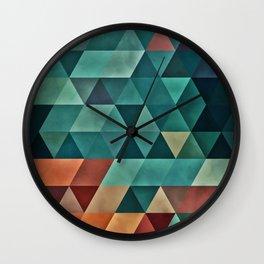 0006 // Teal/Orange Triangles Wall Clock