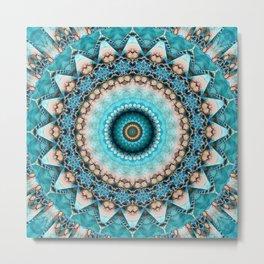 Mandala Precious stone turquoise Metal Print