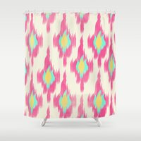 ikat Shower Curtains featuring Pink ikat by Allyson Johnson