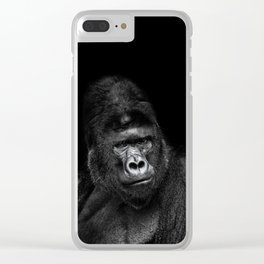 Portrait of a male gorilla on black background. Grave look of the great ape Clear iPhone Case