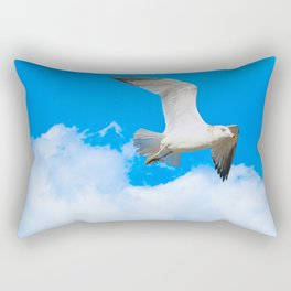 A Seagull Flies Past the Clouds. Nature Photography Rectangular Pillow