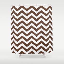 Chocolate Brown Chevron Zig Zag Pattern Shower Curtain
