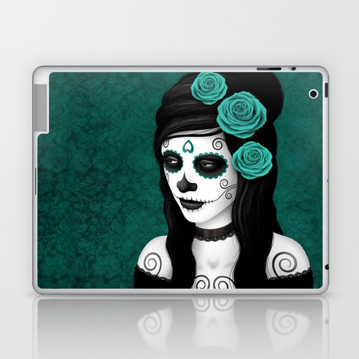 Day of the Dead Sugar Skull Girl with Teal Blue Roses Laptop & iPad Skin
