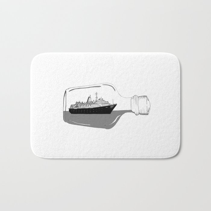 ship in a bottle . Artwork (  https://society6.com/vickonskey/collection ) Bath Mat
