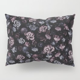 Moody Dark Floral - purple blue roses and peonies on black Pillow Sham