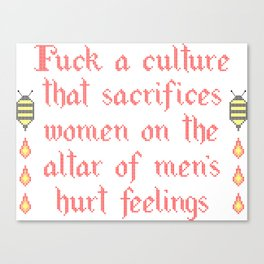 Fuck Your Culture in Cross Stitch Canvas Print