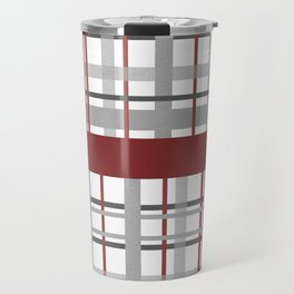 Grey Red Burgundy Checkered Gingham Patchwork Color Canvas Travel Mug