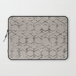 Silver Geometric Art Deco - Gatsby Taupe Laptop Sleeve