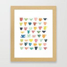 Watercolor Teacups Framed Art Print