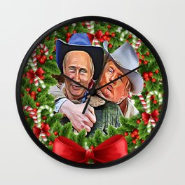 Trump Putin Christmas Wall Clock