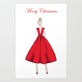 Christmas Red Dress Art Print