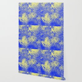 Cool Blue Yellow Marble Pattern Gift Wallpaper