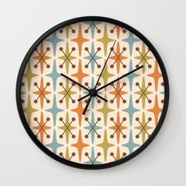 Mid Century Modern Abstract Star Pattern 441 Orange Brown Blue Olive Green Wall Clock