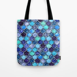 Colorful Teal & Blue Watercolor & Glitter Mermaid Scales Tote Bag