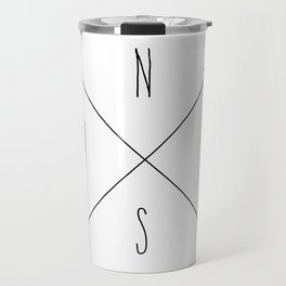 Compass - North South East West - White Travel Mug