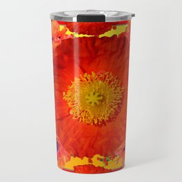 YELLOW-RED POPPIES GARDEN ART YELLOW PATTERNS Travel Mug