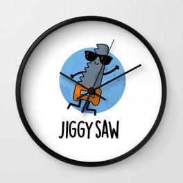 Jiggy Saw Cute Dancing Saw Pun Wall Clock